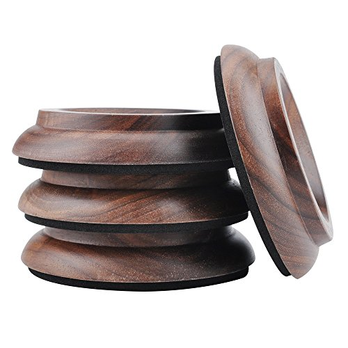 Piano Caster Cups,4 Pcs Wood Upright Piano Cups Foot Pads Floor Protectors with EVA Non-Slip Anti-Noise Foam,Soundproof, Shockproof and Moistureproof Upright Piano A (PA-8-Black Walnut)