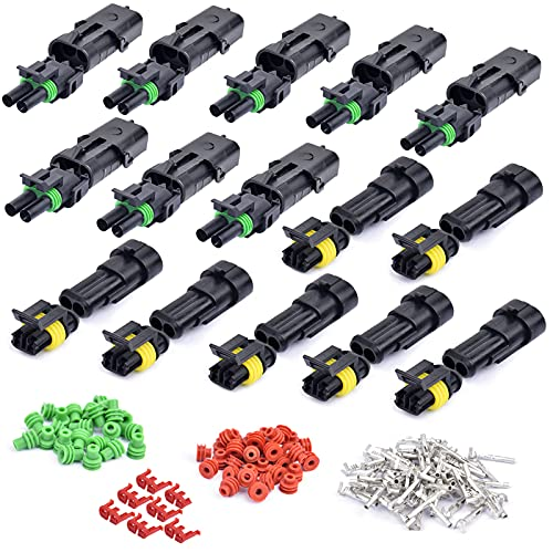 158Pcs/15Kit Waterproof Car Electrical Wire Connector Terminals Plug Kit 18-14AWG 2 Male&Female Pin Small Plug Water Resistend Truck Harness Plug Car Spark Plug Connector