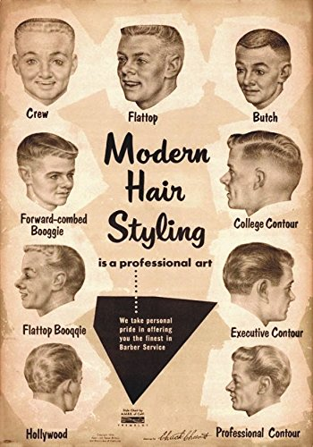 'PVC Carte vintage années' 50 American Advertising of Modern Hair Styling Affiche Plaque – 20 x 14 cm, la plaque en PVC 5 mm d'épaisseur avec Collant pression.