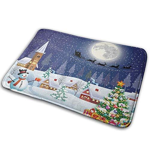 RUBEITA Microfiber Bath Mat Rug,ChristmasWinter Season Snowman Xmas Tree Santa Sleigh Moon Present Boxes Snow And Stars DecorativeBlue White,Bathroom Rugs Carpet Non Slip,29.5' X 17.5'
