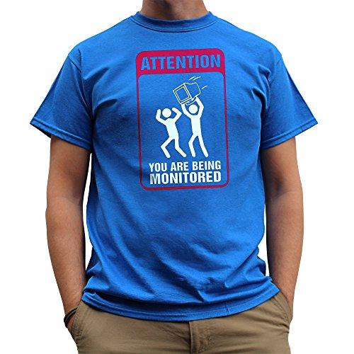 Attentie. U wordt gecontroleerd Mens T Shirt - Royal Blue