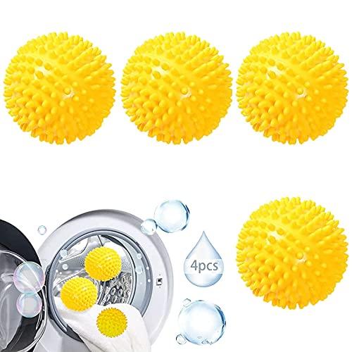 4 Stücke Trockner Ball,Trocknerkugeln Duft,Trocknerbälle für Wäschetrockner,Kugeln für Flauschigere Wäsche,Wiederverwendbare Dryer Balls,Wäsche Wäschetrockner Trocknen Ball (Gelb, 4)