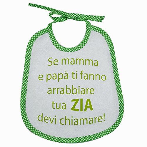 Bavaglino Frasi Divertenti cm.20x24 con laccetti (VERDE MELA4) Se Mamma e papà ti fanno arrabbiare.