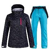 SxLingerie Traje De Esquiar Mujer Chaqueta Y Pantalones Esquí De Invierno Térmico Pantalones Impermeables A Prueba De Viento Conjunto Chaqueta Snowboard Montaña para Deportes Al Aire Libre,Azul,XS
