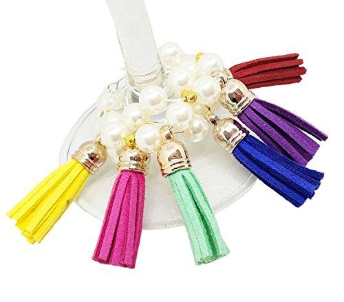 Bipy Verre à vin Charms Perles personnalisé fait à la main Anneaux avec pendentif Lot de 6 pcs pour maison de cuisine Décoration de fête de mariage et fournitures