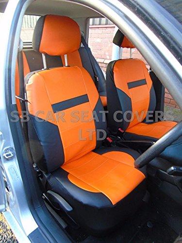 R – Adecuado para Audi TT coche, fundas de asiento, piel sintética, color negro y naranja