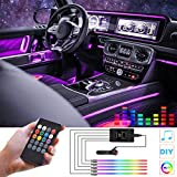 HOLDCY Car LED Strip Lights,Multicolor RGB Interior Car Light,5 in 1 with 236.22 inches Fiber Optic, Ambient Lighting Kits, Music Sync Rhythm,Sound Active Function and Wireless Remote Control