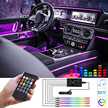 Interior Car Lights RGB Car LED Strip Light 5 in 1 with 236.22 inches Fiber Optic Multicolor Ambient Lighting Kits Music Sync Rhythm,Sound Active Function and Wireless Remote Control