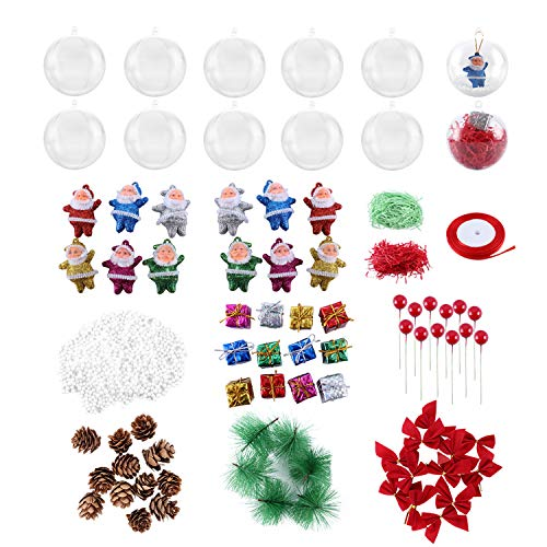 fantastic_008 Clear Christmas Balls Plastic Ornaments for Crafts Bulk,Fillable Balls for Christmas Tree Wedding Party Home Decor
