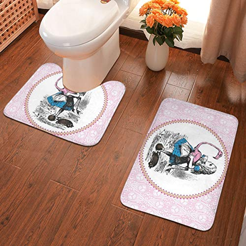 2 stks zachte anti-slip bad Mat Kit, Alice In Wonderland Alice spelen Croquet Met Een Flamingo En Hedgehogs Vintage Alice Inclusief 60X40cm High-absorbency wc-bril en 50X40cm microvezel zachte badkamer tapijt, anti-slip Mat Wasbaar.