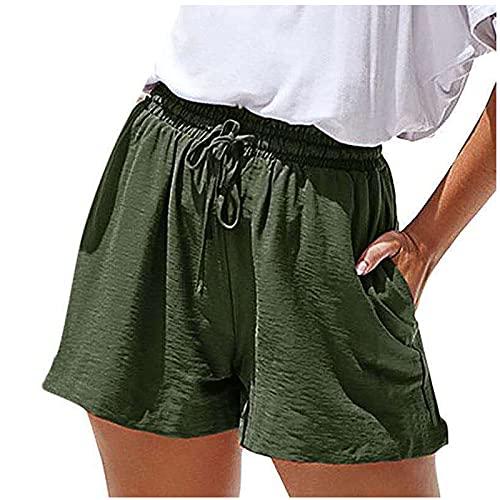 Pantalones Cortos Mujer de Color Sólido con Bolsillos Laterales Pantalón Corto Casual Verano con Cordón Ajustables para Mujer Shorts Mujer Transpirables Cita,Fiesta,Trabajo,Club