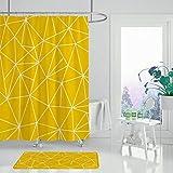 XCBN Geometrischer Duschvorhang schwarz gelb geometrischer Duschvorhang Wohnkultur wasserdichter Badvorhang A2 90x180cm