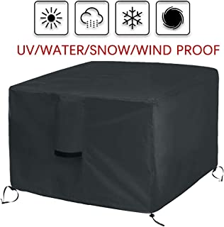 Onlyme Fire Pit Cover Square – Waterproof Heavy Duty Patio Firepit Table Cover Durable Outdoor Furniture Cover Black (50 x 50 x 25 inch / 130 x 130 x 65 cm)