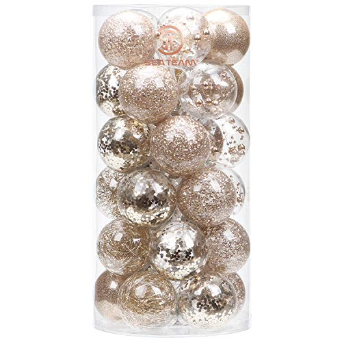 Sea Team 60mm/2.36' Shatterproof Clear Plastic Christmas Ball Ornaments Decorative Xmas Balls Baubles Set with Stuffed Delicate Decorations (30 Counts, Champagne)