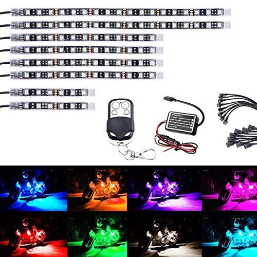 Ruitx 8Pcs Motorrad-LED-Light-Kit Streifen Multi-Color Akzent Glow Neon Lichter Lampe Flexibel Mit Fernbedienung Für Harley Davidson Honda Kawasaki Suzuki Ducati Polaris KTM BMW (Pack Von 8)