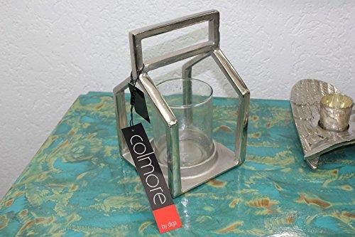 COLMORE Windlicht Alu Laterne Silber Kerzenständer Kerzenhalter Teelichthalter
