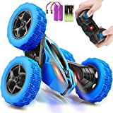 ORRENTE Remote Control Car, RC Cars 2.4GHz Fast Stunt RC Car, 4WD Double Sided 360° Rotating RC Trucks with Headlights, Off Road RC Crawler Toy Cars for Kids Boys Girls (Blue)