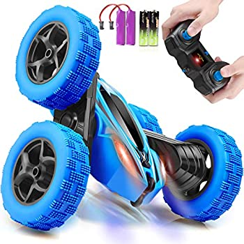 ORRENTE Remote Control Car RC Cars 2.4GHz Fast Stunt RC Car 4WD Double Sided 360° Rotating RC Trucks with Headlights Off Road RC Crawler Toy Cars for Kids Boys Girls  Blue