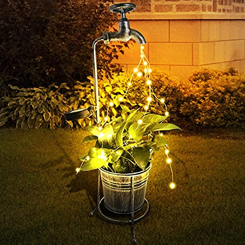 Jardín arte luz decoración solar agua grifo luces luces decoración al aire libre led luz decoración
