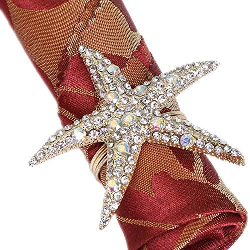Allinlove Crystal Starfish Napkin Rings - Set of 6 Rhinestone Ocean Coastal Nautical Napkin Ring Holders Napkin Buckle for Wedding Party, Beach Table Decor Banquet Dinner Table Accessories