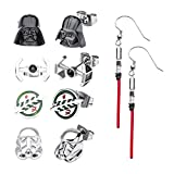 Star Wars Jewelry Unisex Adult Stainless Steel Dangle Charm Stud Earrings Set, Silver, One Size (SALES1SWMD)
