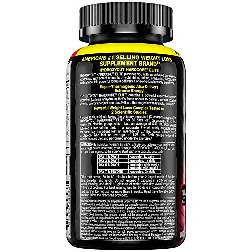 Hydroxycut Hardcore Elite Weight Loss Supplement, Designed for Hardcore Weight Loss, Energy & Enhanced Focus, 100 Servings (200 Pills) 3