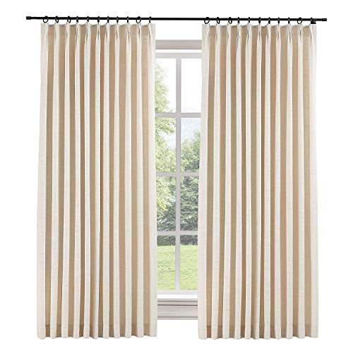 TWOPAGES 84 W x 96 L inch Pinch Pleat Darkening Drapes Faux Linen Curtains with Blackout Lining Drapery Panel for Living Room Bedroom Meetingroom Club Theater Patio Door (1 Panel),Sand Beige
