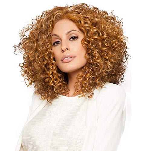 SEXYY Femme Perruque afro Nature Perruque crépue courte pour dame de 16 pouces pour femme africaine, résistante à la chaleur, cheveux synthétiques Lin lin