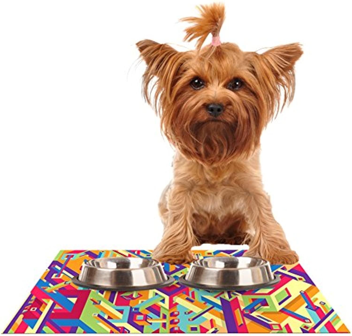 Kess InHouse Roberlan Buracos  Abstract Multicolor Feeding Mat for Pet Bowls, 24 by 15Inch