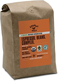 Grumpy Mule Organic Snapshot Espresso Whole Bean Coffee - 2 pounds/32 oz. (907 grams). Fair Trade and Rainforest Alliance Certified from Sumatra, Colombia and Honduras.