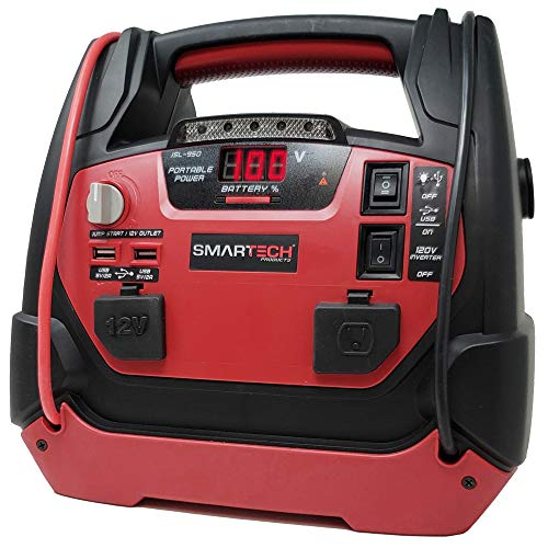 "Smartech JSL-950 Power Station with Jump Starter & 150 PSI Air Compressor, 950 Amp Starting Power, Dual AC/DC Plug-Ins for 12V & 120V, 2 USB Ports, 24"" Jump Cables, Built-In LED Light, Easy Transport"