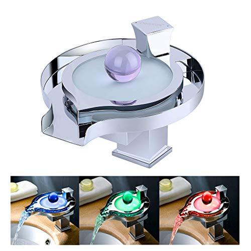 RLF LF Bad Automatik Berührungslose Mischbatterie Waschtischarmatur mit LED Wasserfall Wasserhahn 3 Farben Änderung basierend auf der Wassertemperatur, Zeitgenössische Infrarot Wasserhähne