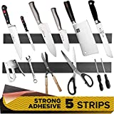 5 PCs Magnetic Tape - Knife Magnetic Strip with Adhesive Backing for Multipurpose Use as Magnet Tool Holder, Wall Knife Holder, Tool Rack, Knives Bar and Tool Stand for Garage and Kitchen Organizer