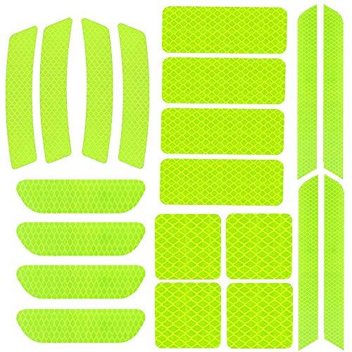 20 Stück Reflektoren Aufkleber,Reflexfolie Selbstklebend Sticker,Licht Reflektor Aufkleber Set für Nachts Fahren Sicherheit Serinnerung(Gelb)