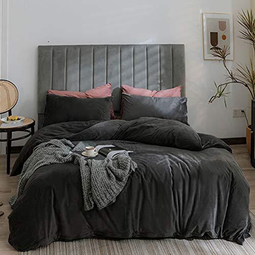 Michorinee Winter Plüsch Bettwäsche Set 155x220 Cashmere Touch Flauschig & Warme Coral Fleece Uni Bettbezug mit Reißverschluss - Anthrazit | 155 x 220 cm + 80 x 80 cm