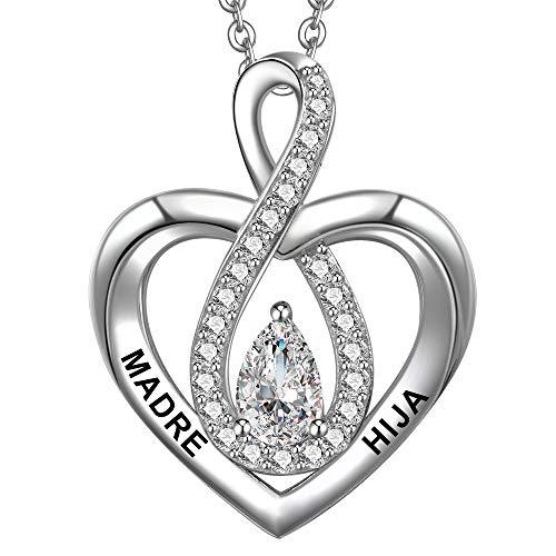 ENGSWA Collar Mujer Plata de Ley 925 Colgante Infinito Corazón Grabado Madre e Hija Regalo para Mamá Niña
