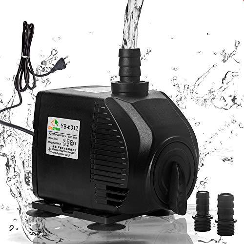 Cadrim Pompa Sommergibile, Pompa di Acqua per Acquario, 2200L / H 220-240V / 35W Pompa per Acquario, Stagno, Fontana, Nuoto (2200ML)
