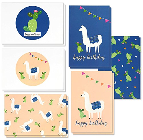 Birthday Card - 48-Pack Birthday Cards Box Set, 6 Cute Llama and Cacti Happy Birthday Cards Bulk, Envelopes Included, 4 x 6 Inches