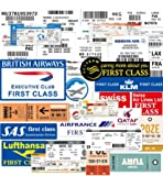 SUNYU Boletos aéreos Divertidos Pegatinas Pase de embarque aéreo Boletos aéreos Etiquetas Adhesivas para Maleta Equipaje portátil Coche 100% Vinilo 30 Piezas