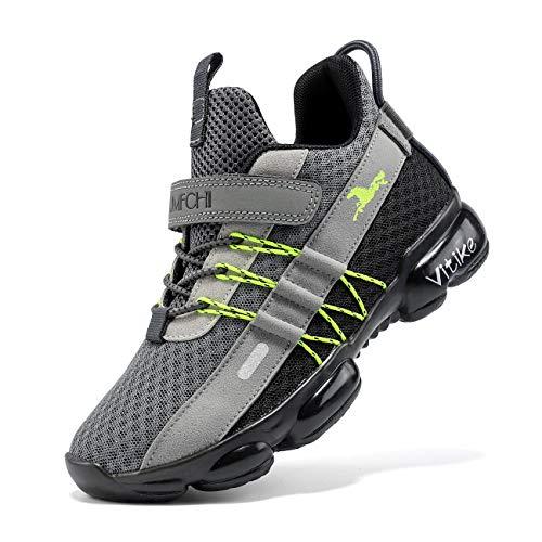 VITUOFLY Kinder Laufschuhe Jungen Schuhe Turnschuhe Mädchen Fitnessschuhe Outdoor Sportschuhe Sneaker Kinderschuhe Damen Hallenschuhe Schulung Schuhe Grau 40