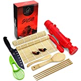 DIY Sushi Making Kit For Beginners - Simple Home Sushi Maker Tools Set - Kits Include 2 x Bamboo Rolling Mat and Japanese Bazooka Roller - Perfect for Kids - Restaurant Grade BPA Free Materials