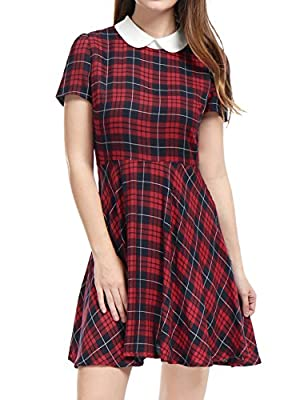 Allegra K Women's Checks Peter Pan Collar Puff Sleeves Above Knee Dress S Red