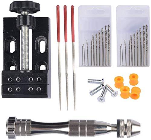 INGHU Pin Vise Hand Boor Set, 20 stks Twist Boor Bits met Acht Gat Metalen Tang Werkbank, Hout DIY Boren Tool voor Walnoot Amber Bijenwas Moer