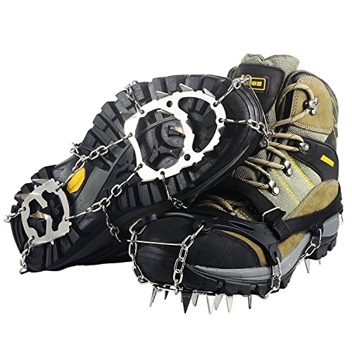 Ravifun Ice Cleats, Snow Spikes Crampons Unisex Anti Slip Shoes Grippers with 18 Teeth Stainless Steel for Winter Walking Hiking Mountaineering, Size XL