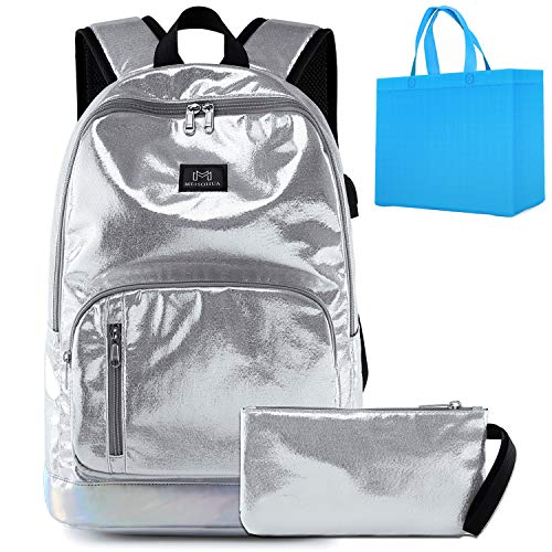 Girls School Backpack 2 in 1 Lightweight Kids Backpack with Pencil Bag for Elementary School Bag USB Charging Port Shiny Silver