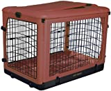 4-door steel dog crate with plush pad and built in wheels for ease in moving