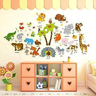cartoon animal baby early education English wall stickers kindergarten kids room wall creative decoration ornament sticker...