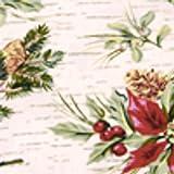 Longaberger Tea Basket Holiday Botanical Fabric Drop In Liner NEW