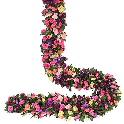 YQing 4 Stücke Künstliche Rosen Girlande, 250cm Unechte Rosenranke Blumengirlande mit grünen Blättern für Hochzeit, Party, Garten Dekoration, Mehrfarbig