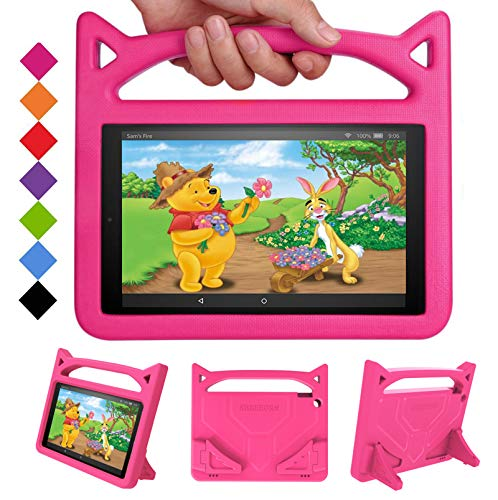 Fire HD 10 Tablet Case 2019 (Previous Model)-SHREBORN Shockproof Kid-Proof Cover with Stand Kids Case for Amazon Fire HD 10 Tablet(2019/2017/2015 Release) NOT for 2021 Released 11th Generation-Pink